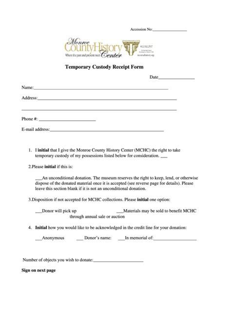 temporary custody receipt form monroe county history