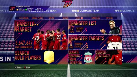 ultimate team layout fifa 18 ultimate team concept menu transfers page youtube