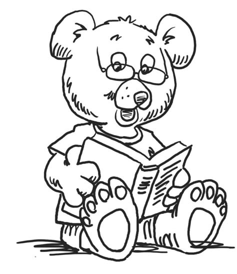 reading coloring pages kindergarten bear reading book kindergarten coloring pages