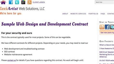 10 Free Contract Templates For Web Designers Simple Web Design Contract Template
