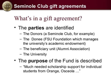 Sle Scholarship Gift Agreement seminole club gift agreement process