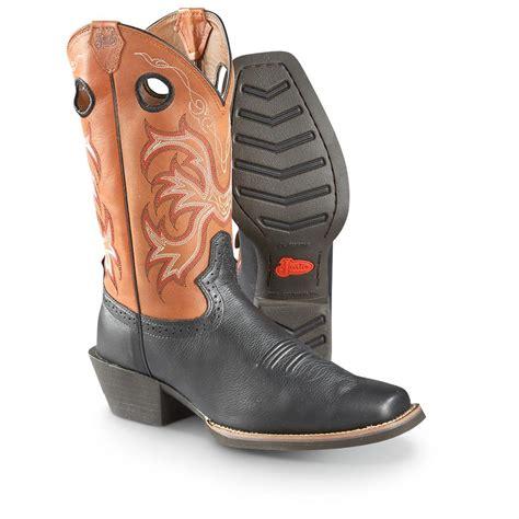 mens justin cowboy boots s justin black deercow western boots black 590607