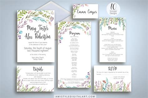 stylish printables watercolor clipart wedding stationery watercolor leaves wedding invitation suite printable