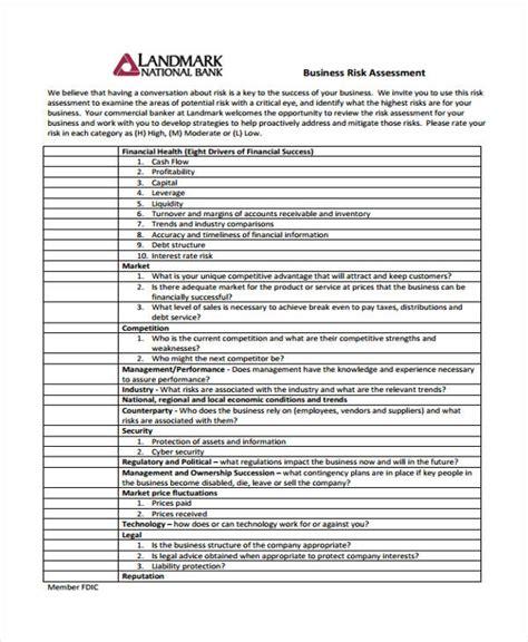 business risk assessment template 28 risk assessment sles free premium templates
