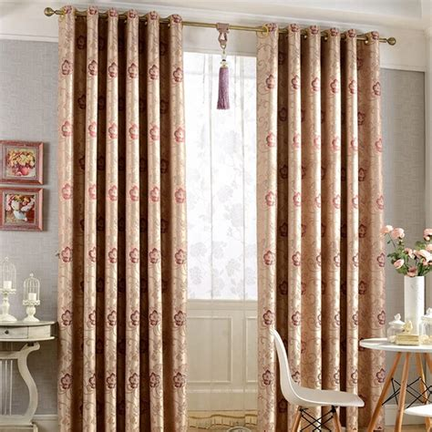 Brown Curtains For Bedroom Classical Brown Jacquard Floral Leaf Bedroom Blackout Curtains