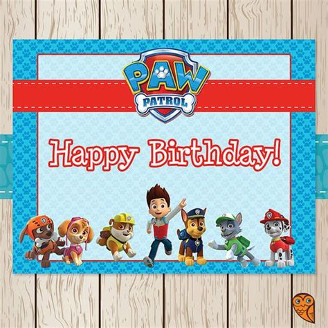 3rd Anniversary Card Template by Printable Paw Patrol Birthday Sign Paw By