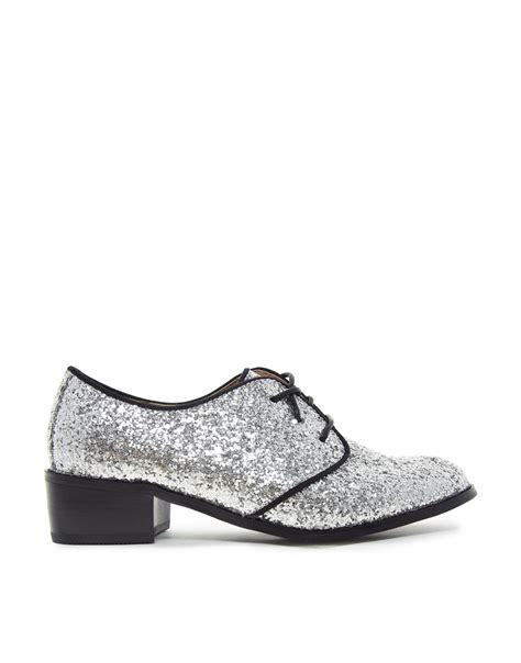 silver glitter flat shoes asos vikova lace up silver glitter flat shoes in metallic