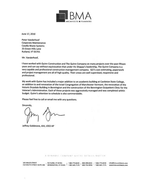 Recommendation Letter For Architect Employee Letters Of Reference Vms Construction