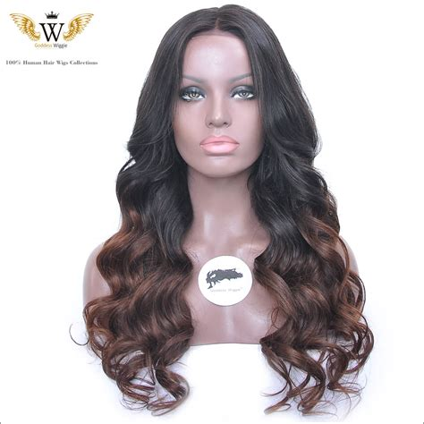 ombre remy wave unprocessed 5a 150density wavy lace front wig for black