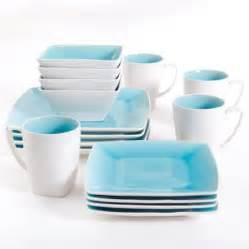 16 pc square dinnerware set turquoise stoneware dining