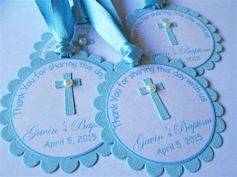 Giveaways Tag Baptism - personalized blue baptism gift tags favor tags first communion confirmation