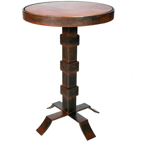 iron accent tables lincoln iron accent table with hammered copper top