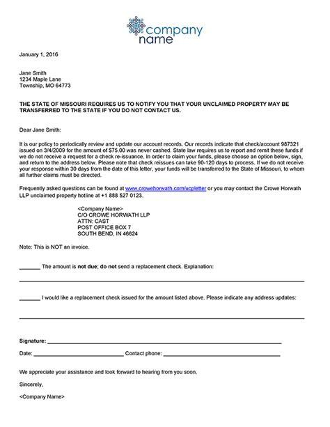 Release Letter Due Diligence unclaimed property due diligence letter template