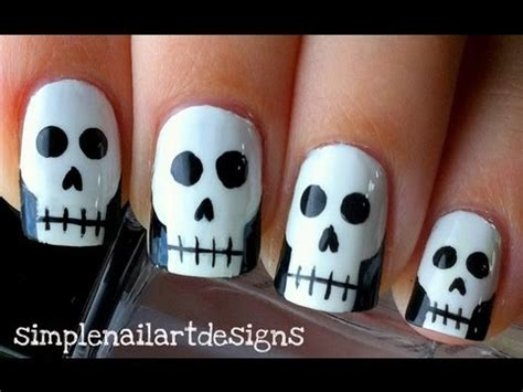 halloween nail art tutorial skulls halloween skull nail art tutorial youtube