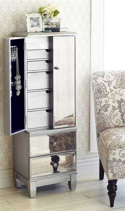 Silver Jewelry Armoire by Hayworth Mirrored Silver Jewelry Armoire Armoires And Bedrooms