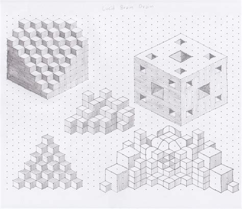 grid pattern drawing lucid brain drain isometric shapes drawings and