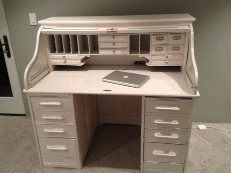 roll top desk white all lacquered up keeley kraft