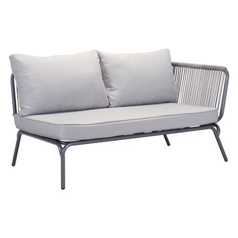 ZUO Pier Gray Patio Loveseat with Gray Cushions 703786