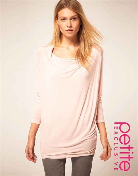 drape front top long asos petite exclusive drape front tunic top in pink