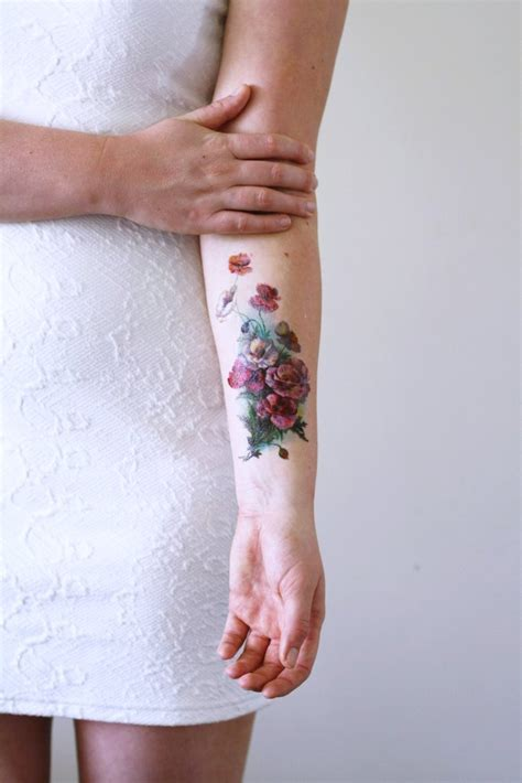 large temporary tattoos large vintage poppy temporary temporary tattoos