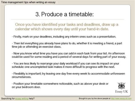 Time Management Essay by Essay Writing 5 Time Management Tips When Writing An Essay