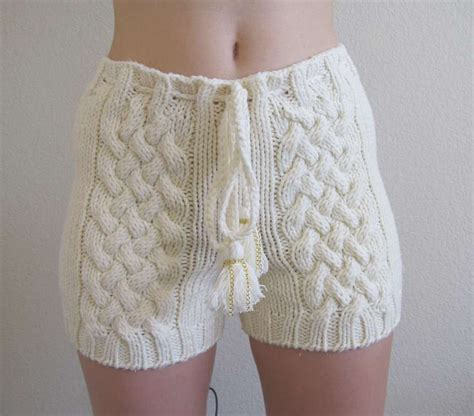 cable knit shorts knitted cable knit shorts in white