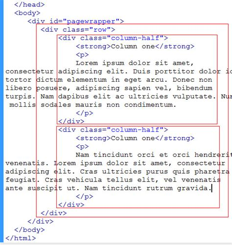 html layout two columns html two column layout div phpsourcecode net