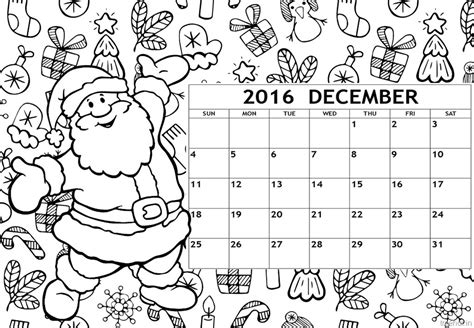 december calendar coloring pages december 2016 calendar coloring page free printable