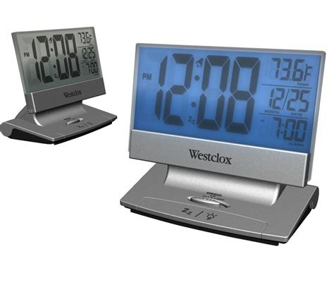 westclox adjustable large lcd digital alarm clock with date temperature snooze ebay
