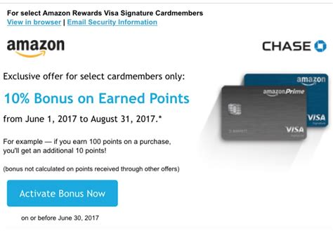 amazon credit card chase amazon 10 bonus on rewards for june through august