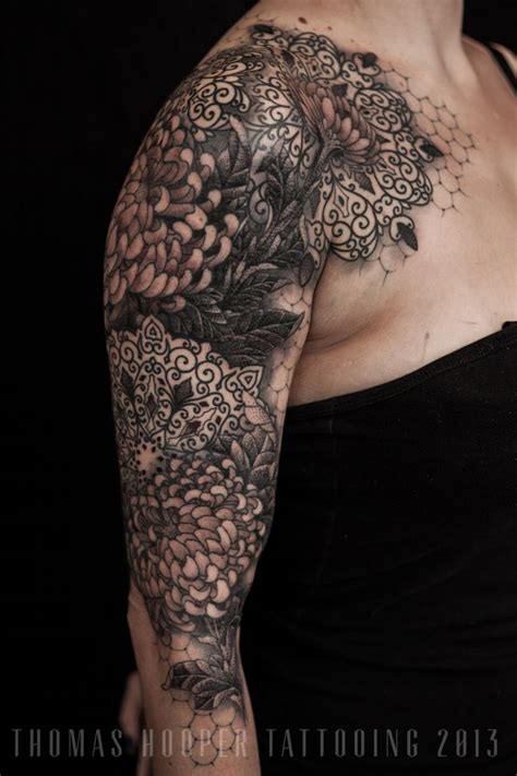 lace flower tattoo lace chrysanthemum mandala ornamental sleeve