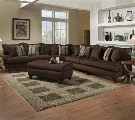 Tables For Sectional Sofas Furniture Brown Velvet L Shaped Sofa With Ottoman Coffee Table Placed On Brown Carpet With