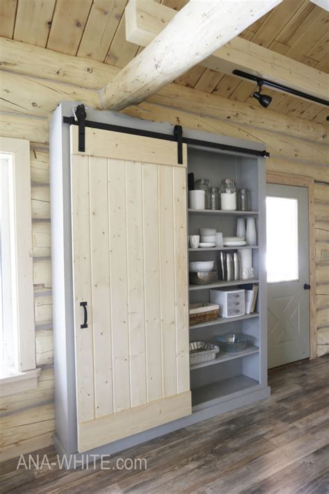 barn door cabinet  pantry ana white