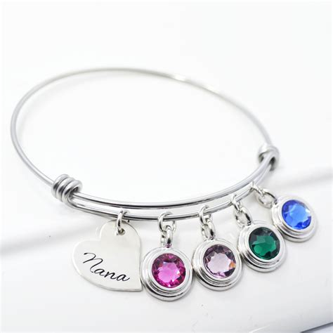 Buy a Hand Crafted Mother Child Birthstone Adjustable Stackable Charm Bangle Bracelet, made to