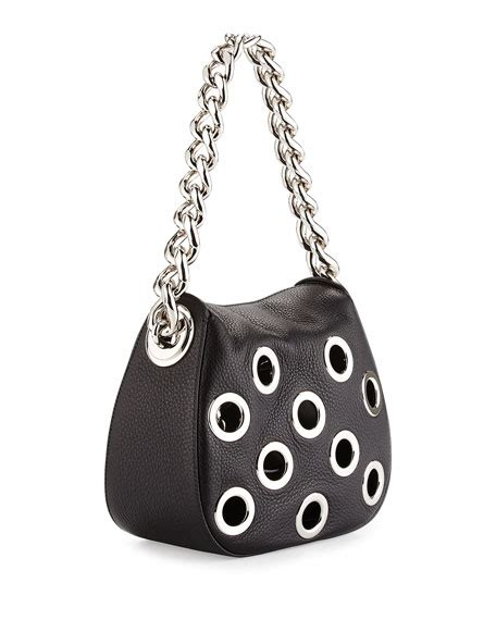 Prada Vitello Daino Mini Hobo Purse by Prada Vitello Daino Small Perforated Chain Hobo Bag Black