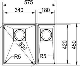 meuble evier 1319 evier inox 1 5 bac sous plan franke peak pkx 160 34 18