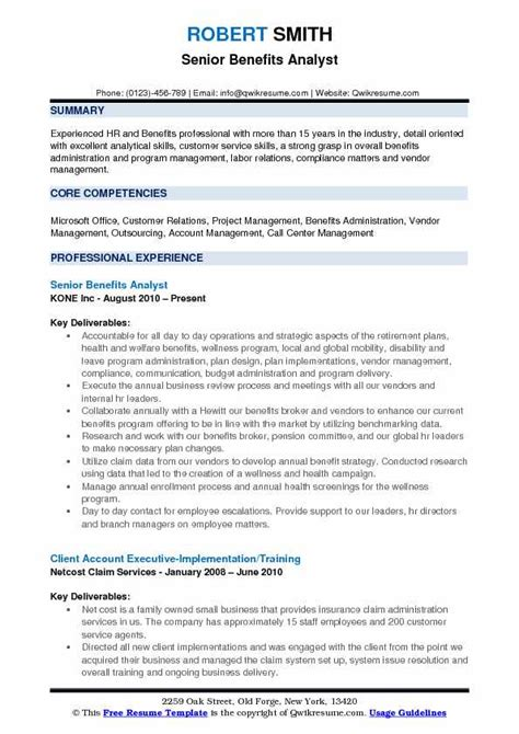 Benefits Analyst Sle Resume by Benefits Analyst Resume Sles Qwikresume
