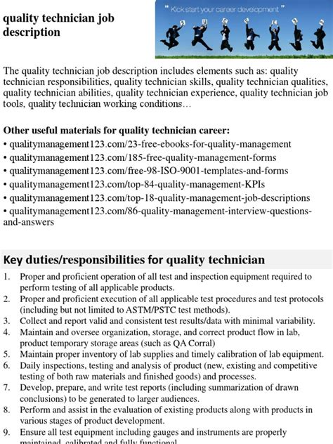 Quality Technician Description by Quality Technician Description Docshare Tips