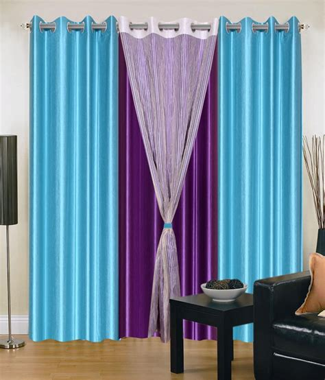 blue and purple curtains madhav product set of 4 door eyelet curtains solid blue