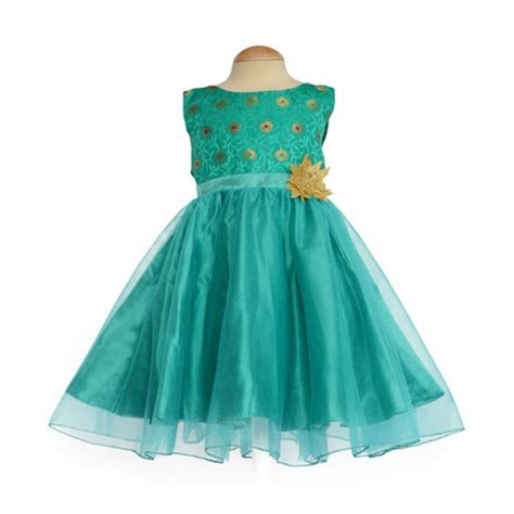 Green Ethnic Dress ethnic frock peacock green for kid