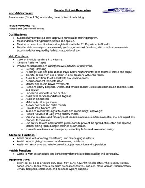 Resume Exles Descriptions sle cna certified nursing assistant description