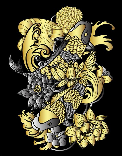 gold koi wallpaper hand drawn gold koi fish and flower japanese tattoo style