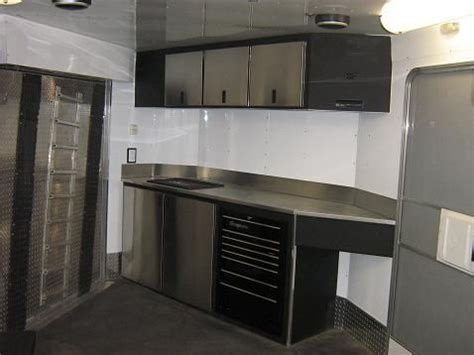 cer trailer kitchen ideas 1000 images about enclosed trailer interiors on rv trailer snowmobile trailers and