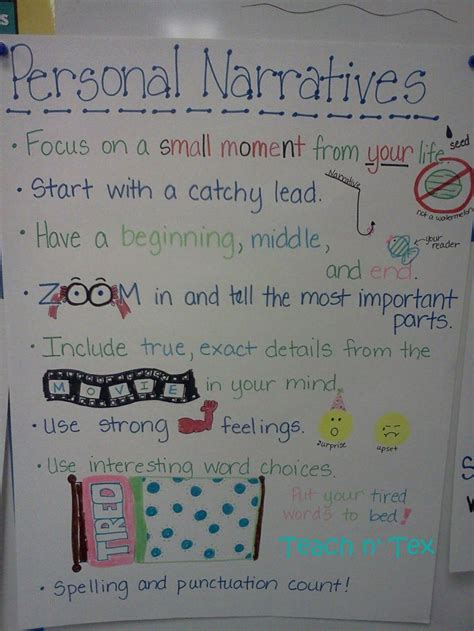 personal narrative essay sles personal narrative anchor chart teaching writing