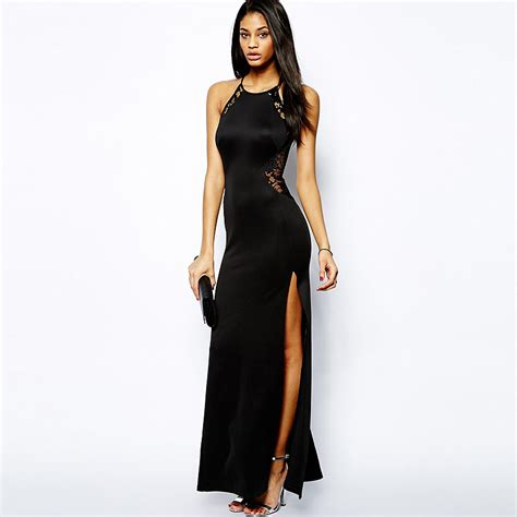 Laurent Slit Dress Black womens lace sleeveless backless side slit sheath strappy maxi dress solid black in dresses