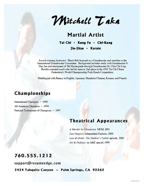 Karate Instructor Cover Letter by Martial Artist Resume
