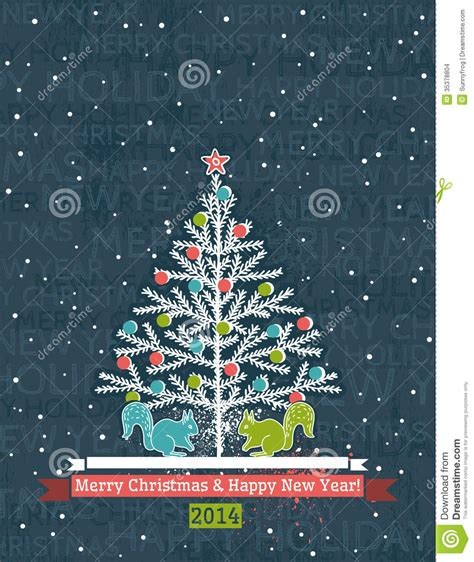 grunge grey background with christmas tree and wis stock