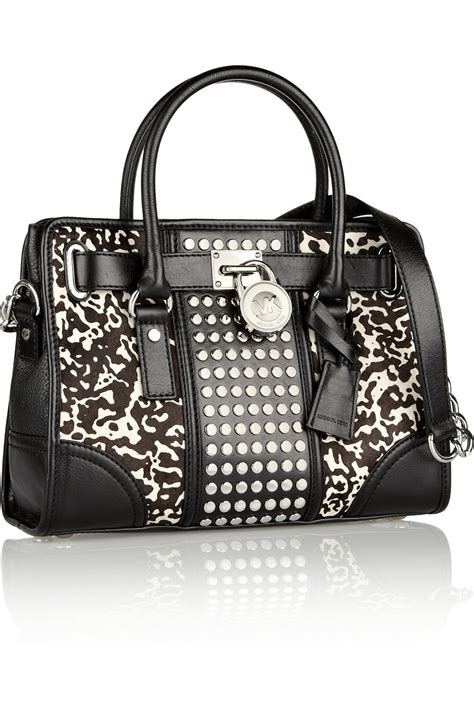 Michael Kors Hair Calf Cut Out Handle Purse by Michael Michael Kors Hamilton Studded Leather And Printed