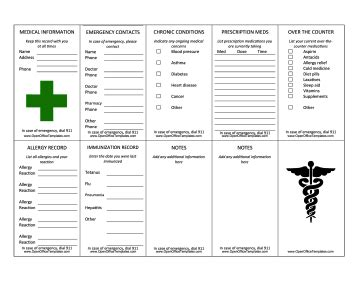 wallet size medication card template wallet information card openoffice template