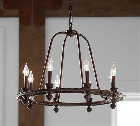 pottery barn lighting chandeliers ornate iron ring chandelier pottery barn